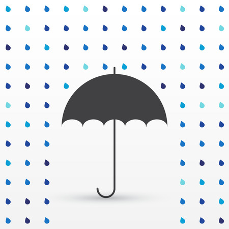 weatherproof: Rain drop background with umbrella, black silhouette, vector illustration Illustration