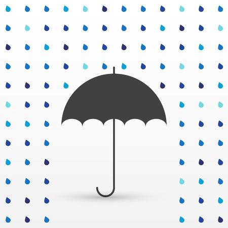 rain drop: Rain drop background with umbrella, black silhouette, vector illustration Illustration