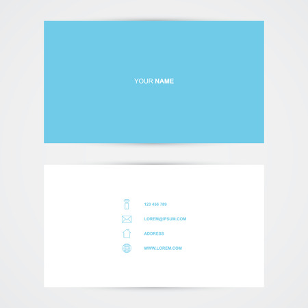 Business card template, blue simple design