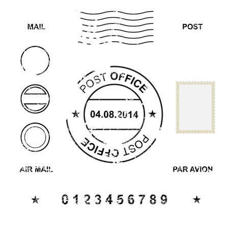 post stamp: Set of post stamp symbols, vector illustration