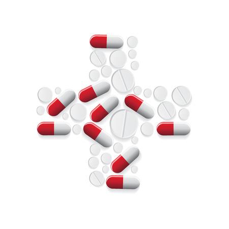 pharmacy pills: Pills, cross shape, vector illustration