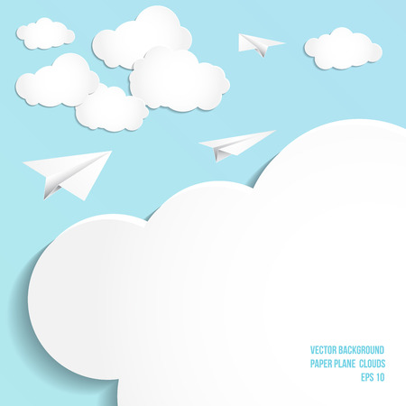 Paper plane, clouds, vector background