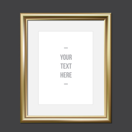 Golden picture frame for your design, vector illustration