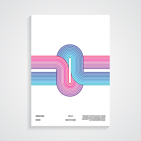 Retro poster, connected lines, vector Vector