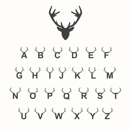 Alphabet with antlers, vector illustration Stock Illustratie