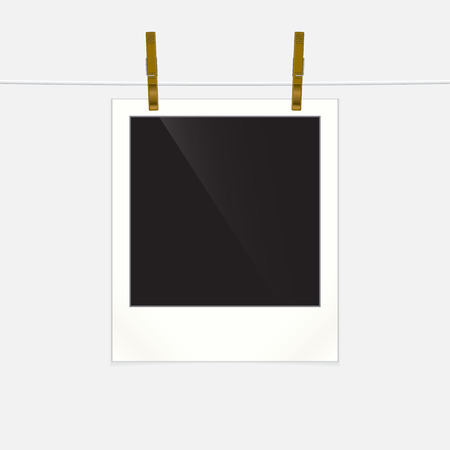 rope vector: Retro photo frame on rope, vector illustration