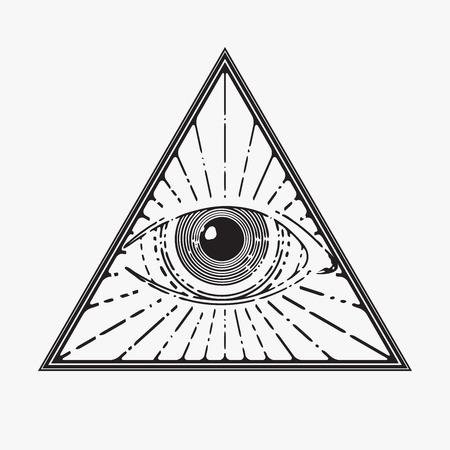 ojos negros: Todo viendo símbolo del ojo, ilustración vectorial