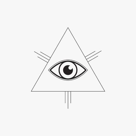 All seeing eye symbol, line design, vector illustration Vector