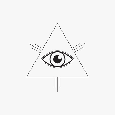 horus: Todo viendo símbolo del ojo, diseño de línea, ilustración vectorial