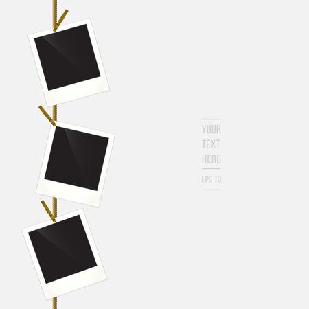 Photo rétro cadres sur corde avec place pour votre texte, illustration vectorielle Banque d'images - 31280006