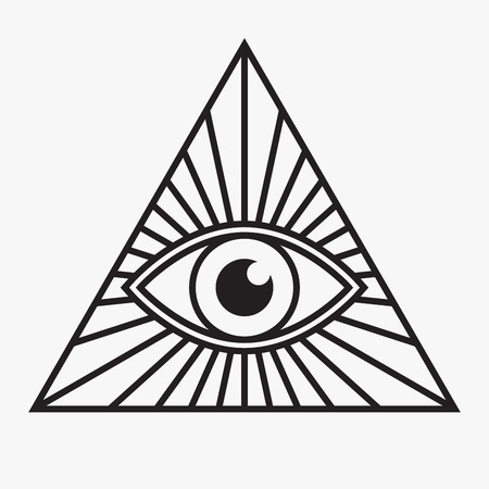 All seeing eye symbol, vector illustration Çizim