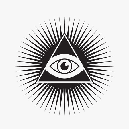 allen: Alziende oog symbool, ster vorm, vector illustratie