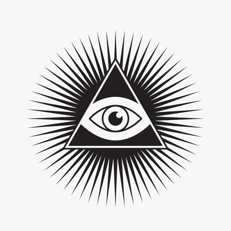 ojo de horus: Todo viendo s�mbolo del ojo, forma de la estrella, ilustraci�n vectorial