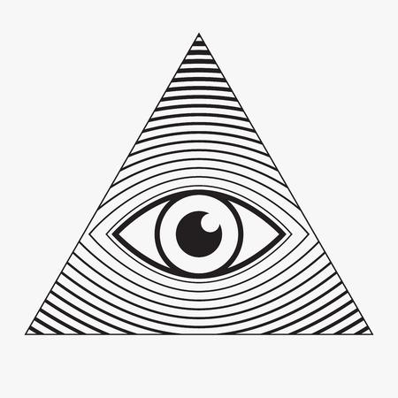 ojo de horus: Todo viendo s�mbolo del ojo, ilustraci�n vectorial
