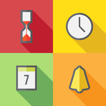 Time icons, flat design Vector