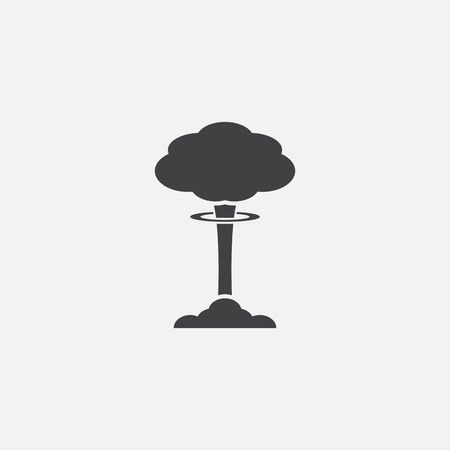 Paddestoel wolk, nucleaire explosie, silhouet