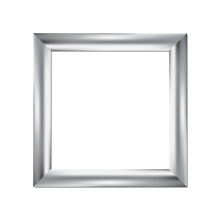 objetos cuadrados: Marco de plata, fondo cuadrado, ilustración vectorial Vectores