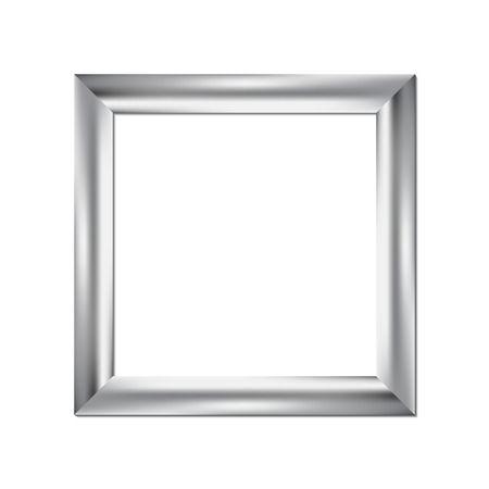 pictures: Silver picture frame, square background, vector illustration
