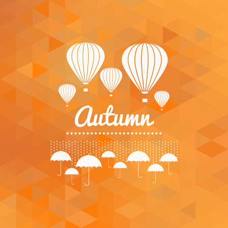 on air sign: Autumn sign with umbrellas and hot air balloons, orange geometric background Illustration