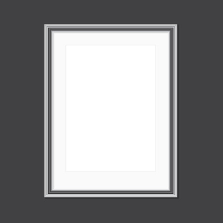 Black and white picture frame with window mat Vettoriali