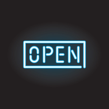diners: Open sign, neon design Illustration