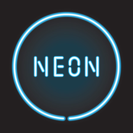 neon sign: Neon circle with neon sign Illustration