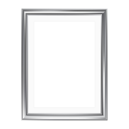 Silver picture frame with mat frame, isolated on white, A4 size