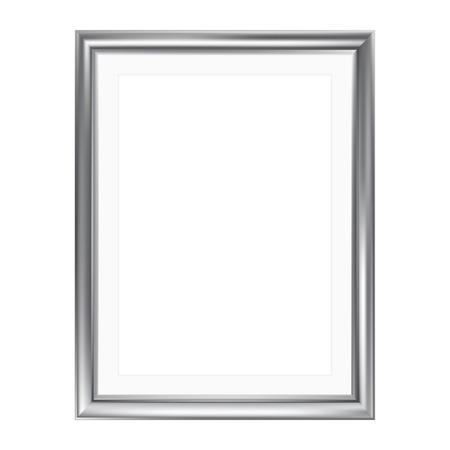 Zilveren omlijsting met mat frame, geïsoleerd op wit, A4-formaat Stockfoto - 32146747