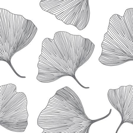 gingko: Ginkgo biloba leaves, line design, seamless pattern