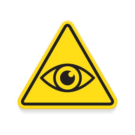 目, 警告サイン, 黄色の三角形の記号  イラスト・ベクター素材