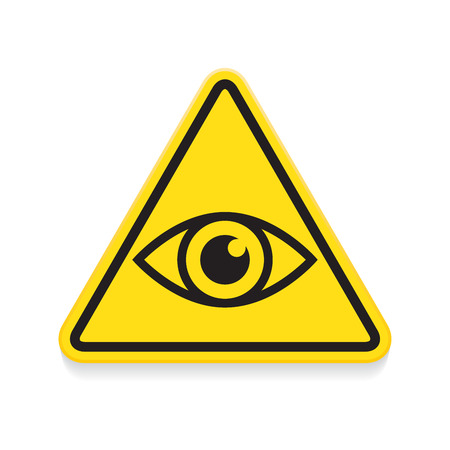 Symbol of eye, warning sign, yellow triangle 向量圖像