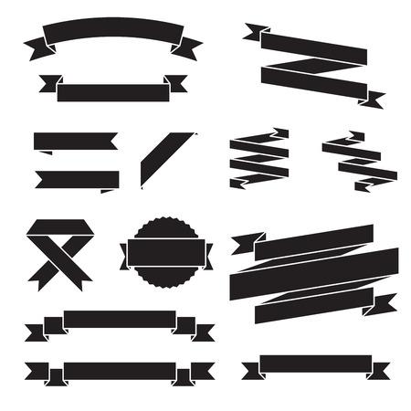 black ribbon: Set of vector ribbons, black design