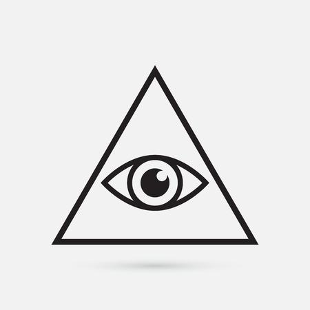 ojos negros: Todo viendo símbolo del ojo, simple triángulo, ilustración vectorial Vectores