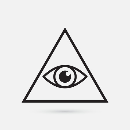 All seeing eye symbol, simple triangle, vector illustration Vettoriali