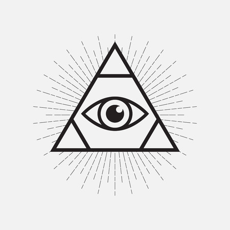 All seeing eye symbol, triangle with rays, vector illustration