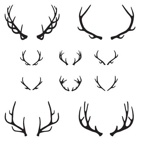 ¢                    â       reindeer: Conjunto de astas, silueta, vector Vectores