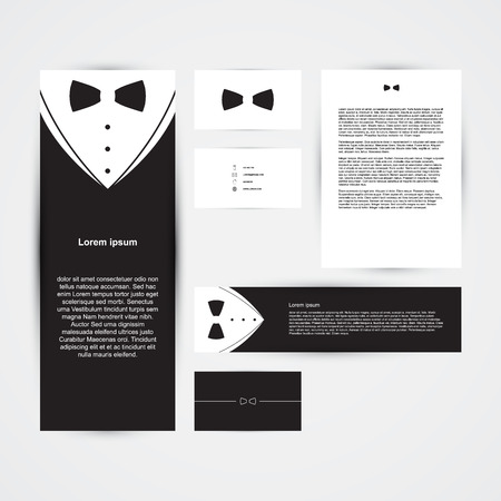 Invitation template, black design with bow tie, business card, banner, vector illustration Illustration