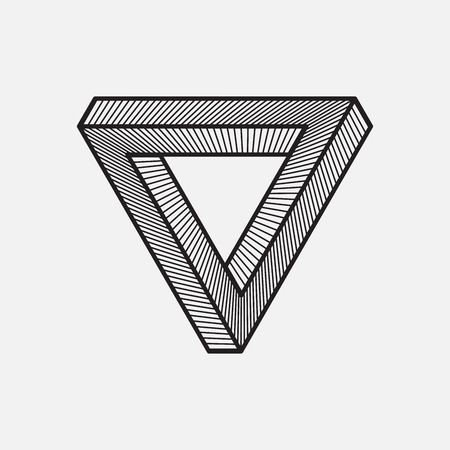 Impossible triangle, geometric element, vector illustration Illustration