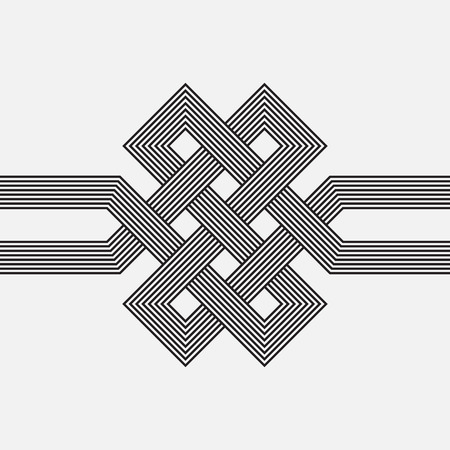 intertwined: Intertwined pattern, square vector element, ribbon Illustration