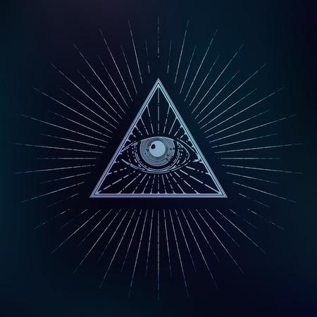 의식: All seeing symbol, triangle with rays