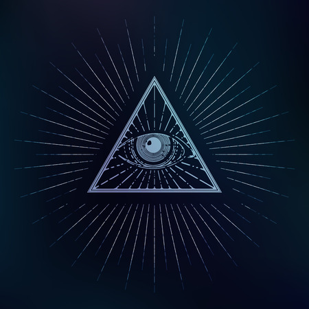 All seeing symbol, triangle with rays