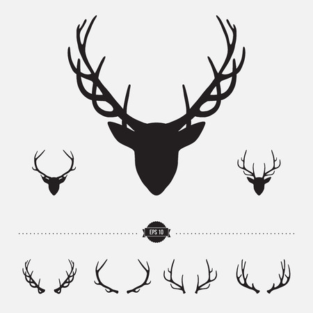 stag: Deer head silhouette with antlers, vector illustration