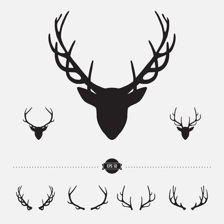 cabeza: Silueta de la cabeza de los ciervos con las astas, ilustraci�n vectorial