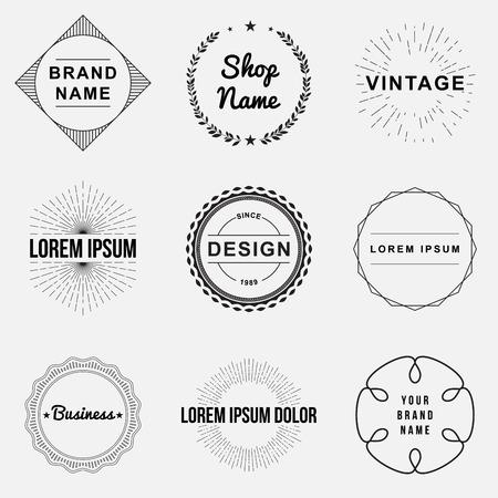 marcos redondos: Conjunto de insignias retro vintage y etiqueta logo gr�ficos. Los elementos de dise�o, r�tulos de establecimientos, etiquetas, logotipos, dise�o del c�rculo Vectores
