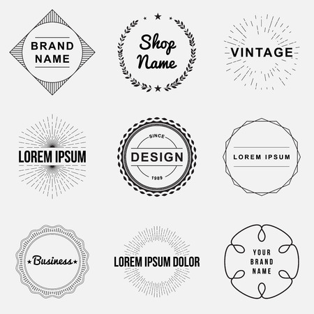 badge logo: Set of retro vintage badges and label logo graphics. Design elements, business signs, labels, logos, circle design