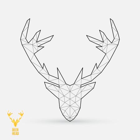 Herten hoofd, geometrische vorm, vector illustratie