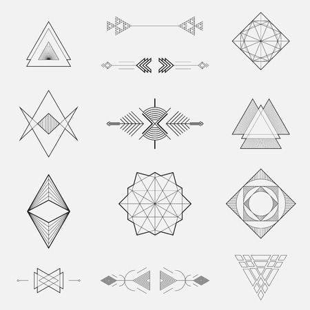 jewelry design: Set of geometric shapes, triangles, line design, vector
