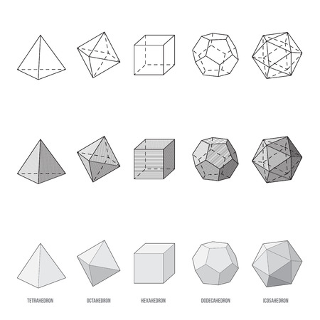 Platonic solids, vector illustration  イラスト・ベクター素材