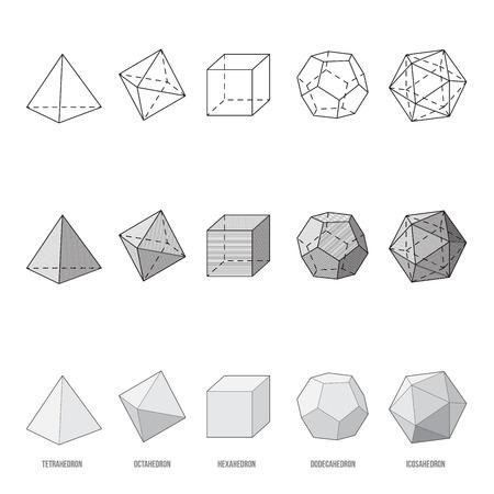 Platonic solids, vector illustration Vectores