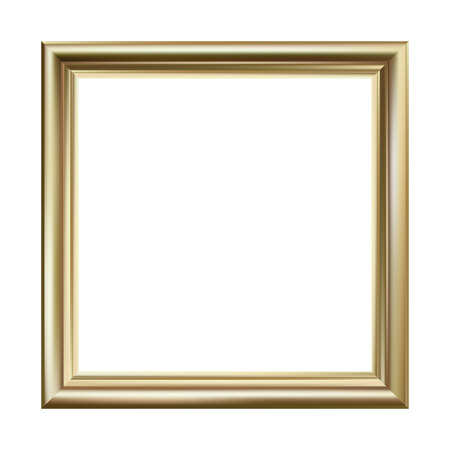 Gold picture frame, square, vector illustration Stock Illustratie